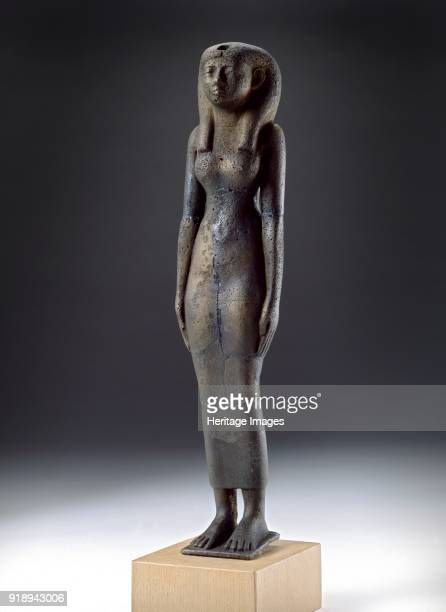 Figure of the goddess Isis Napatan Period Hollowcast figure of the goddess Isis distorted by buring Dimensions height 295 cm excltang