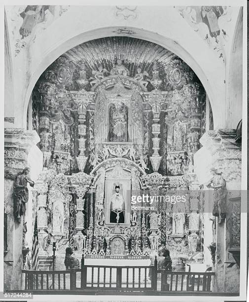 A figure of the mission's patron St Francis Xavier is enshrined in an orate main altar Reputed to have been carved by an unknown Spanish artist it is...