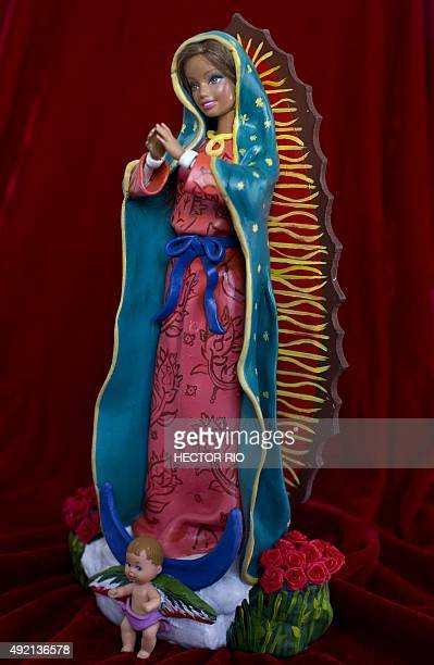 A figure of the Virgin of Guadalupe part of the collection Barbie The Plastic Religion created by Argentine artist couple Emiliano Pool Paolini and...