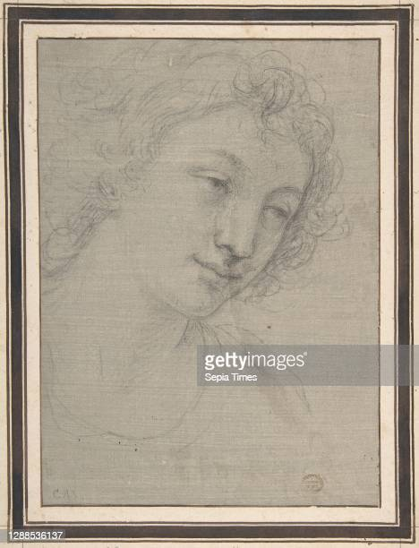 Figure of Young Man or Woman in Bust-length, in Three-Quarter View, 1700–1713, Black chalk on gray prepared paper, 9 3/8 x 6 3/4in. , Drawings,...