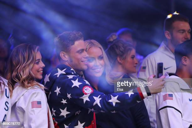 Figure skaker Ashley Wagner freestyle skier Ken Gusworthy and alpine skier Lindsey Vonn attend the 100 Days Out 2018 PyeongChang Winter Olympics...