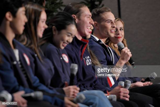 Figure skater Adam Rippon addresses the media during the Team USA Media Summit ahead of the PyeongChang 2018 Olympic Winter Games on September 25...
