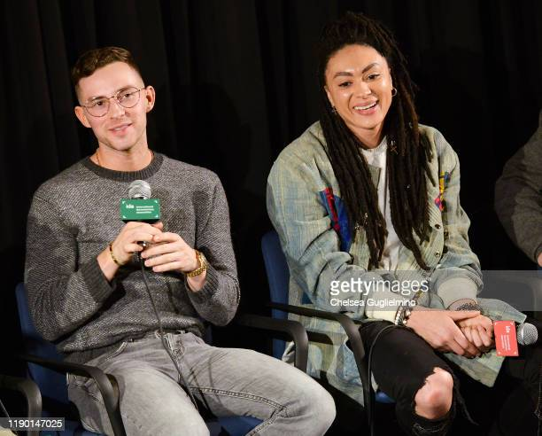 "Figure skater Adam Rippon and actor Amber Whittington attend the Los Angeles special screening of ""Stonewall Outloud"" at The Landmark Westside..."