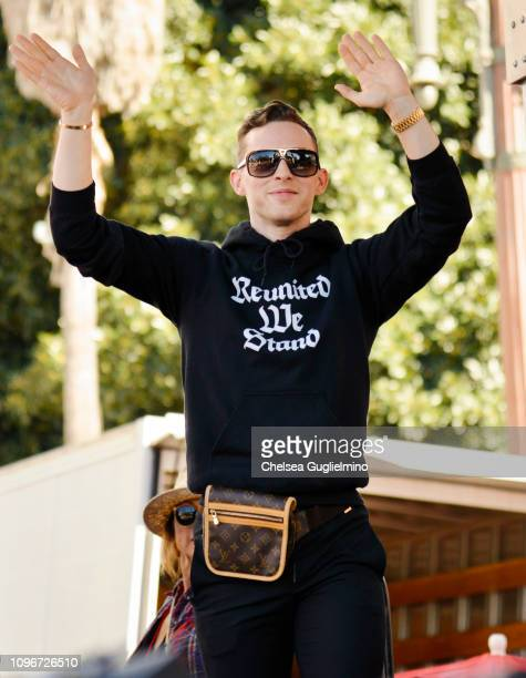 Figure skater Adam Rippon seen onstage during the 2019 Women's March Los Angeles on January 19 2019 in Los Angeles California
