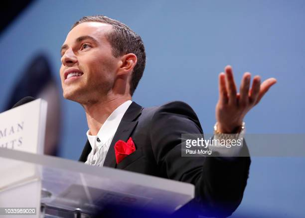 Figure skater Adam Rippon speaks at the 22nd annual Human Rights Campaign National Dinner at the Walter E Washington Convention Center on September...