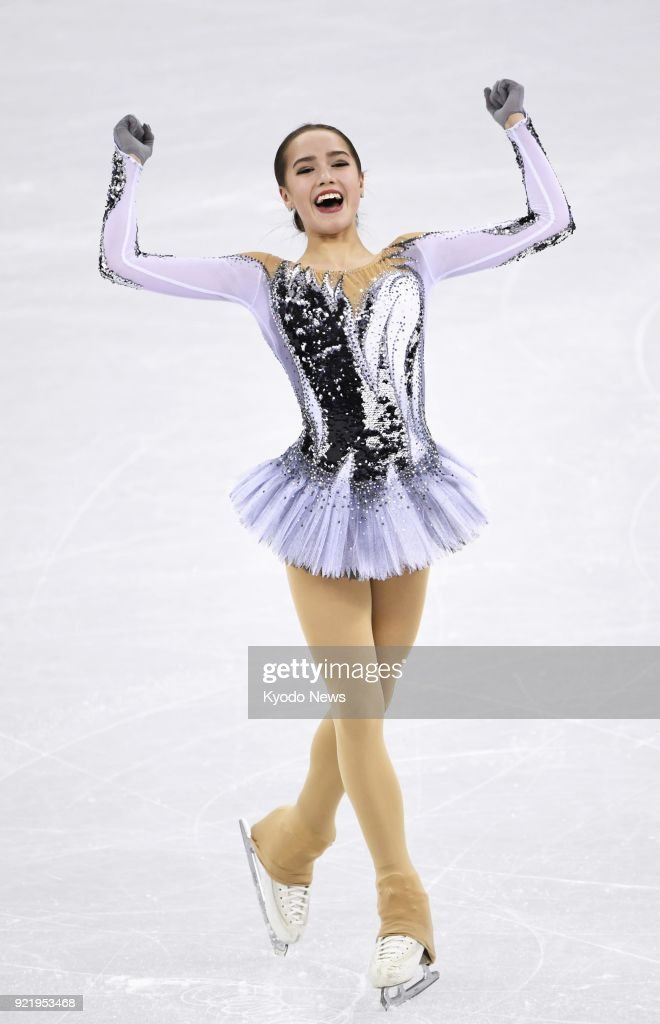 Figure skater Alina Zagitova, an Olympic Athlete from Russia, reacts after performing her short program at the Pyeongchang Winter Olympics in Gangneung, South Korea, on Feb. 21, 2018. ==Kyodo