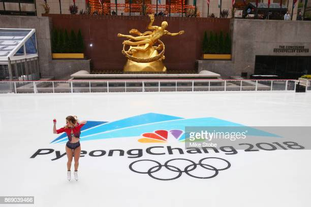 Figure skater Ashley Wagner skates during the 100 Days Out 2018 PyeongChang Winter Olympics Celebration Team USA on November 1 2017 in New York City