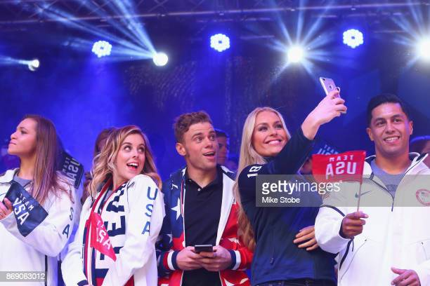 Figure skater Ashley Wagner skier Gus Kenworthy and skier Lindsey Vonn take a selfie during the 100 Days Out 2018 PyeongChang Winter Olympics...