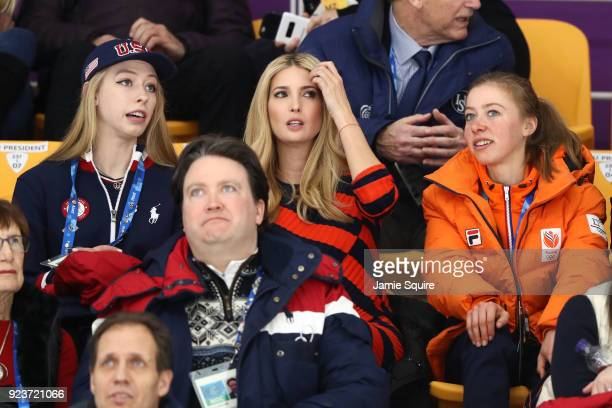 Figure skater Bradie Tennell of the United States Ivanka Trump and speed skater Esmee Visser of the Netherlands attend the Speed Skating Mass Start...