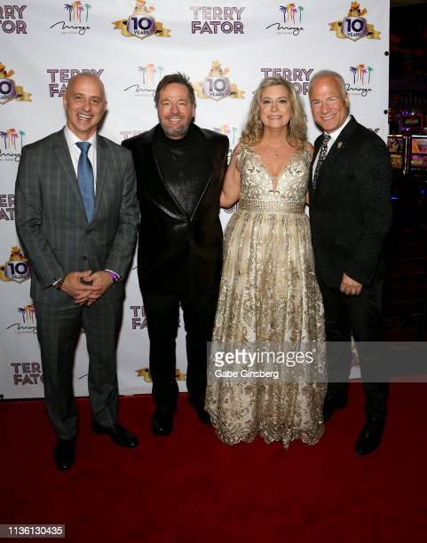 Figure skater Brian Boitano comic ventriloquist and impressionist Terry Fator his wife Angie Fiore Fator and actor and singer Franc D'Ambrosio attend...