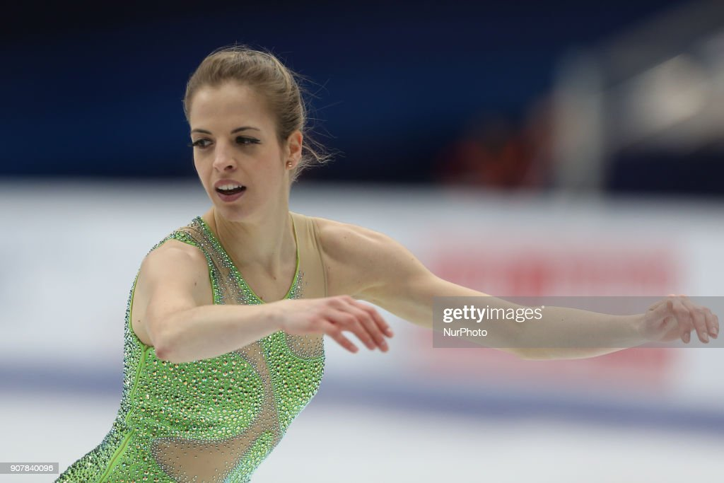 Figure skater Carolina Kostner of Italy performs during the ladies' free skating event at the 2018 ISU European Figure Skating Championships, at Megasport Arena in Moscow, Russia, on January 20, 2018.