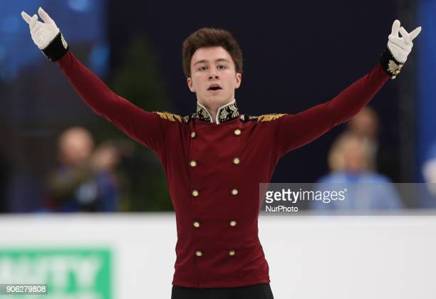Figure skater Dmitri Aliev of Russia performs his short program during a men's singles competition at the 2018 ISU European Figure Skating...