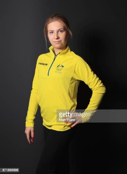 Figure skater Ekaterina Alexandrovskaya poses during the Australia Winter Olympic Athlete Announcement at Museum of Contemporary Art on November 9...