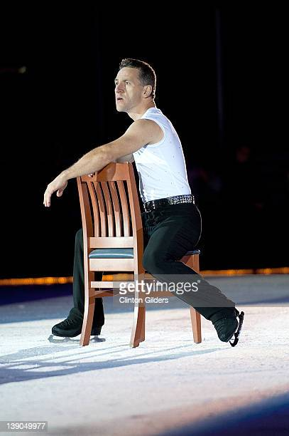 Figure skater Elvis Stojko performs during Spotlight Productions Rock The Ice III at Peterborough Memorial Centre on February 15, 2012 in...