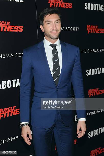 Figure skater Evan Lysacek attends The Cinema Society with Muscle Fitness screening of Open Road Films' Sabotage at AMC Loews Lincoln Square on March...