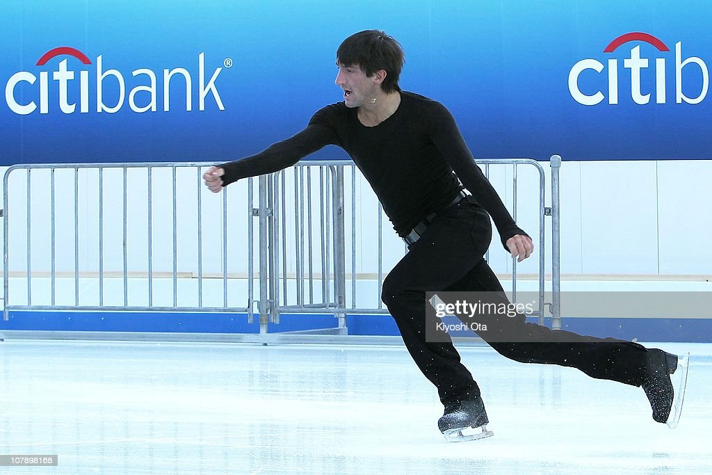 Figure skater Evan Lysacek of the United States, the 2010 Vancouver Winter Olympics figure skating gold medalist, performs during the opening ceremony for the Citi Ice Rink at Tokyo Midtown on January 6, 2011 in Tokyo, Japan. The outdoor ice skating rink will open between January 7 and February 28.