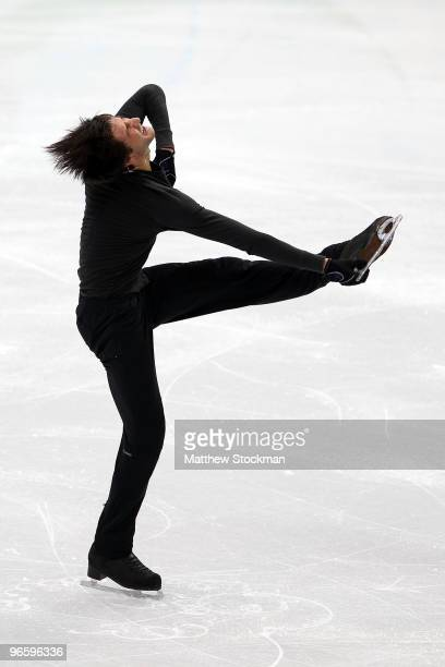 Figure skater Evan Lysacek of United States practices ahead of the Vancouver 2010 Winter Olympics on February 11, 2010 in Vancouver, Canada.