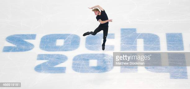 Figure skater Evgeny Plyushchenko of Russia practices ahead of the Sochi 2014 Winter Olympics at the Iceberg Skating Palace on February 5 2014 in...