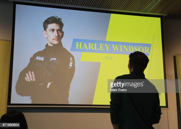 Figure skater Harley Windsor looks at a photograph of himself before the Australia Winter Olympic Athlete Announcement at Museum of Contemporary Art...