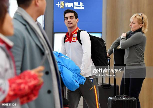 Figure skater Javier Fernandez of Spain is seen on arrival at Incheon International Airport on day two of the PyeongChang Winter Olympic Games on...