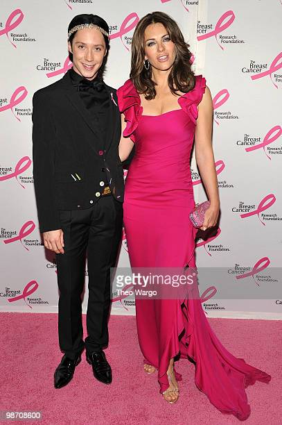 Figure skater Johnny Weir and actress Elizabeth Hurley attend the 2010 Breast Cancer Research Foundation's Hot Pink Party at The Waldorf=Astoria on...