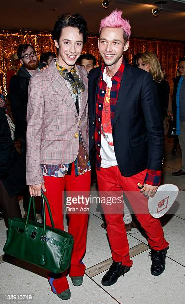 Figure skater Johnny Weir and designer Chris Benz attend the Chris Benz fall 2012 presentation during MercedesBenz Fashion Week at Avery Fisher Hall...