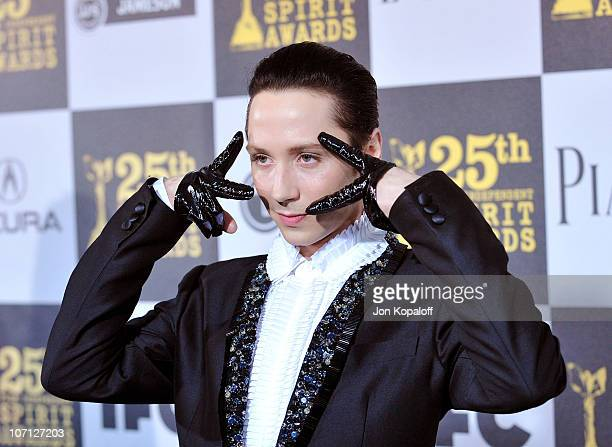 Figure skater Johnny Weir arrives at the 25th Film Independent Spirit Awards held at Nokia Theatre LA Live on March 5 2010 in Los Angeles California
