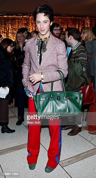 Figure skater Johnny Weir attends the Chris Benz fall 2012 presentation during MercedesBenz Fashion Week at Avery Fisher Hall Grand Promenade on...