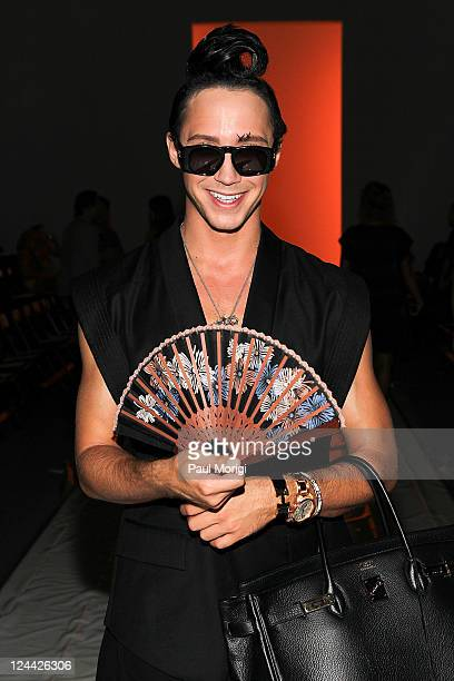 S Figure Skater Johnny Weir attends the General Idea Spring 2012 fashion show during MercedesBenz Fashion Week at The Studio at Lincoln Center on...