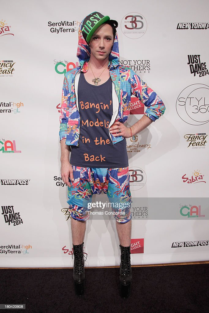 Figure skater Johnny Weir attends Tumbler and Tipsy by Michael Kuluva presented by AIDS Healthcare Foundation at the STYLE360 Fashion Pavilion in Chelsea on September 12, 2013 in New York City.