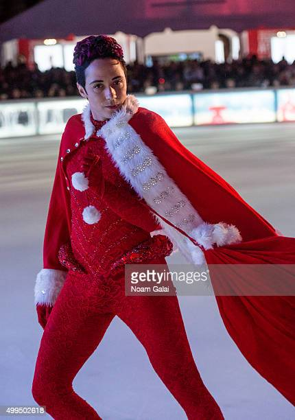Figure skater Johnny Weir performs during the 2015 Bryant Park Christmas tree lighting at Bryant Park on December 1 2015 in New York City