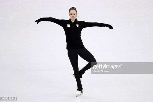 Figure skater Kaetlyn Osmond of Canada trains ahead of the PyeongChang 2018 Winter Olympic Games at Gangneung Ice Arena on February 8 2018 in...