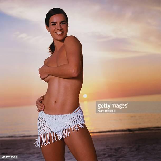 Figure Skater Katarina Witt at the Beach
