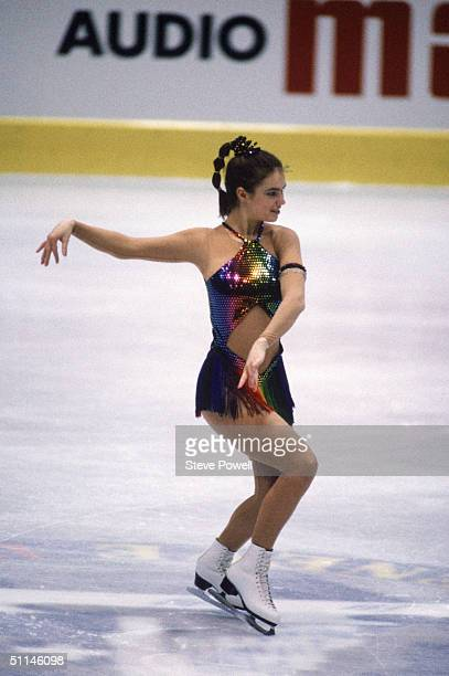 Figure skater Katarina Witt of East Germany performs in the 1986 World Figure Championships in Geneve Switzerland. Katarina Witt is a Four-time World...