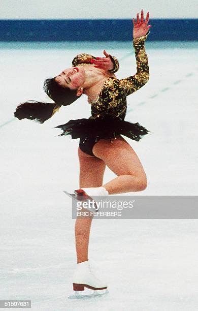 Figure skater Kristi Yamaguchi from the United States performs her free program at the Winter Olympic Games 21 February 1992 in Albertville Yamaguchi...