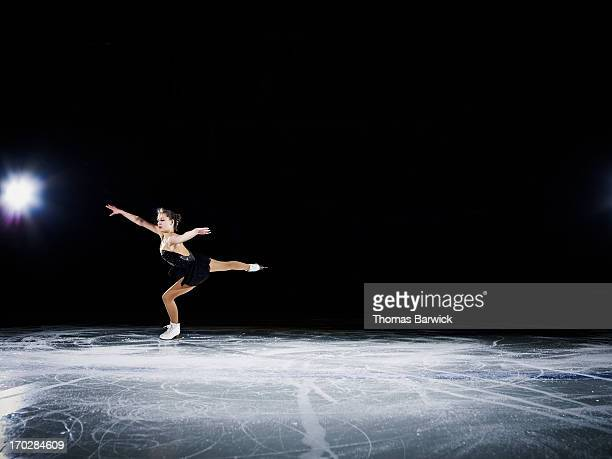 Figure skater landing a jump during a performance