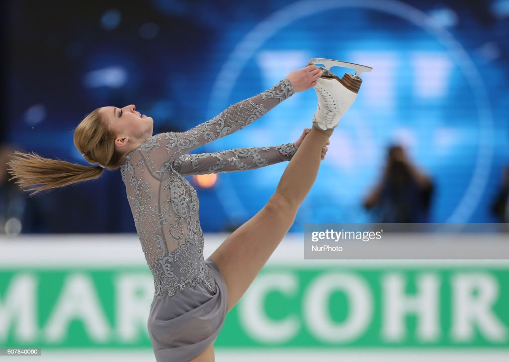 Figure skater Maria Sotskova of Russia performs during the ladies' free skating event at the 2018 ISU European Figure Skating Championships, at Megasport Arena in Moscow, Russia, on January 20, 2018.