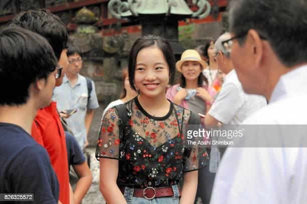 Figure skater Marin Honda visits Nikko Toshogu Shrine on August 4 2017 in Nikko Tochigi Japan