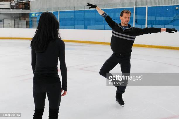 Figure skater Mark Hanretty demonstrates part of the routine during final rehearsals for the world premiere ice skating performance of The Creative...