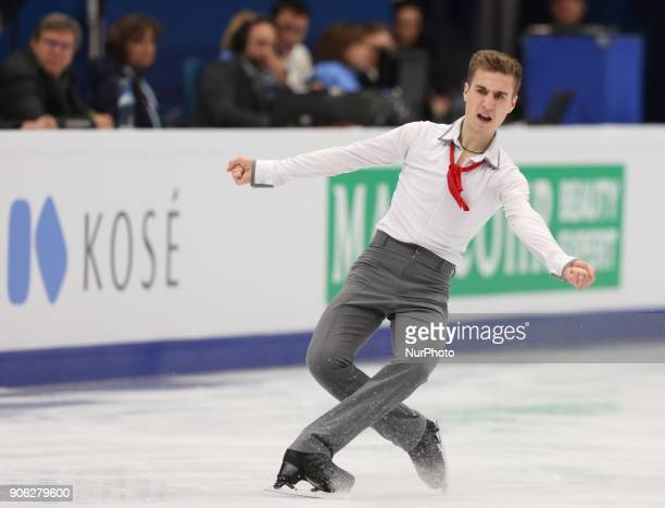 Figure skater Matteo Rizzo of Italy performs his short program during a men's singles competition at the 2018 ISU European Figure Skating...
