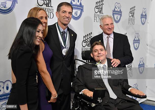 Figure skater Michelle Kwan Nada Stepovich former NBA player John Stockton Marc Buoniconti and Nick Buoniconti attend the 30th Annual Great Sports...