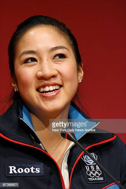 Figure skater Michelle Kwan of the US speaks during a news conference after practice at Palavela Stadium on the first full day of the 2006 XX Winter...