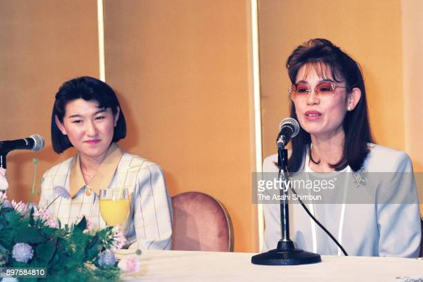 Figure skater Midori Ito and her coach Machiko Yamada attend a press conference announcing her retirement on April 25 1992 in Tokyo Japan