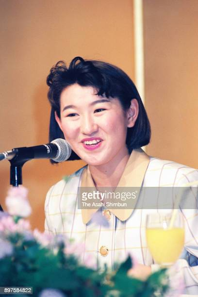 Figure skater Midori Ito speaks during a press conference announcing her retirement on April 25 1992 in Tokyo Japan