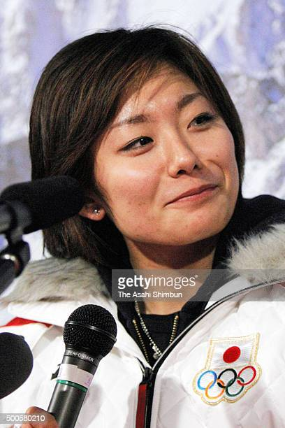 Figure skater Miki Ando of Japan speaks during a press conference on February 15 2006 in Courmayeur Italy