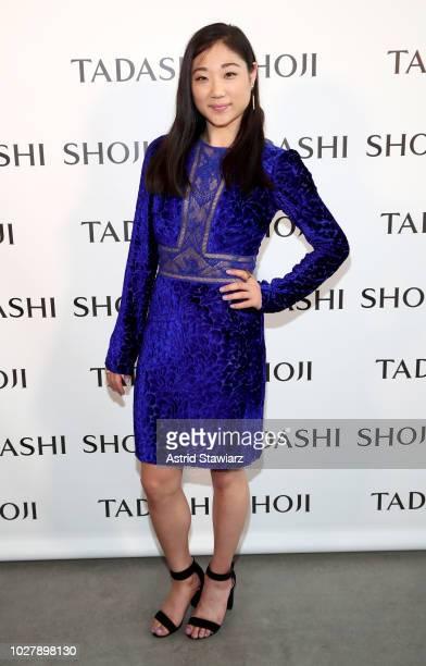 Figure skater Mirai Nagasu poses backstage for the Tadashi Shoji show during New York Fashion Week The Shows at Gallery I at Spring Studios on...