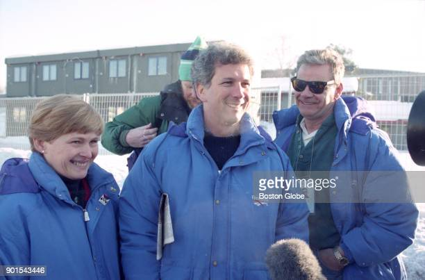 Figure skater Nancy Kerrigan's parents Brenda left and Dan right arrive to watch a practice session with her agent Jerry Solomon center during the...