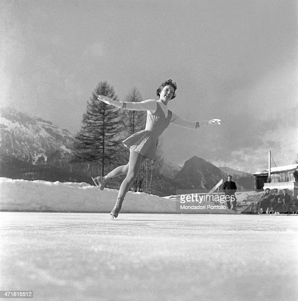A figure skater performing during the VII Olympic Winter Games Cortina d'Ampezzo 1956