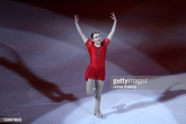 Figure skater performs during the opening ceremony during the ISU World Figure Skating Championships at Ericsson Globe on March 24, 2021 in...