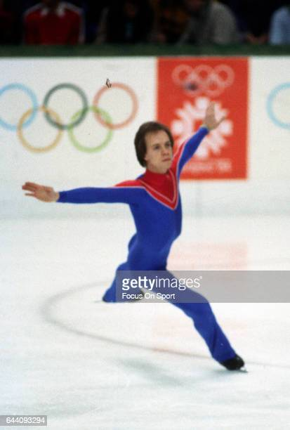 Figure Skater Scott Hamilton of United States competes in the figure skating competition in the XIV Olympic Winter Games circa 1984 at the Asim...